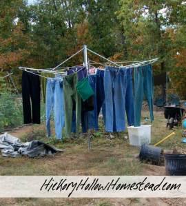 Homemade Umbrella Clothesline