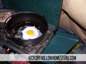 Duck egg in cast iron dutch oven.